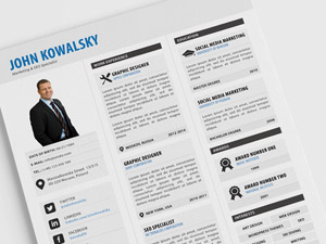 Free 3 Column Resume Template PSD