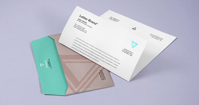 Letter and Envelope Mockup PSD