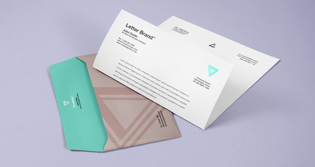 Letter and Envelope Mockup PSD