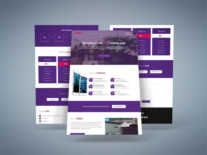 Hasi : App Landing Page PSD Template