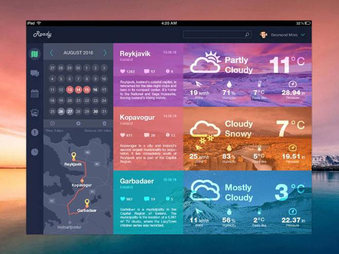 Roady – Free Traveler Dashboard UI Design (PSD)