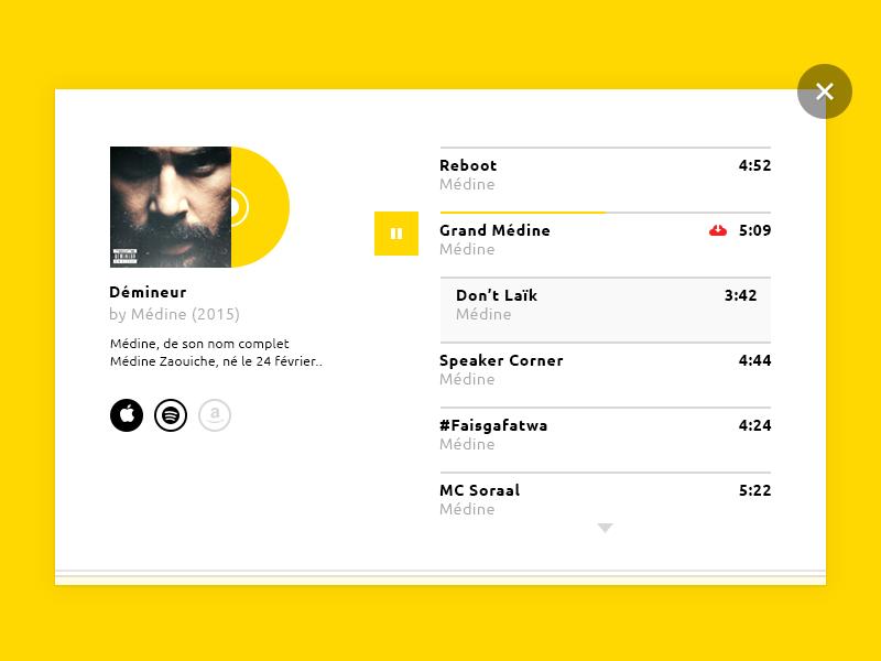 Music Album Player PSD