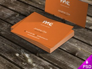 Business Cards on Wooden Table Mockup PSD