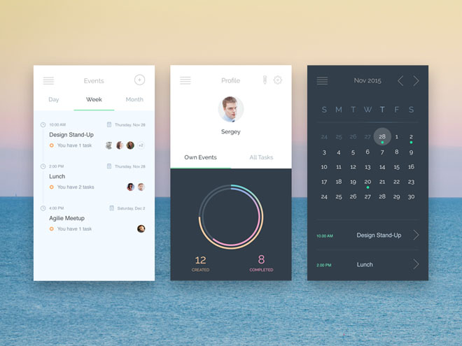 Free Events App UI PSD