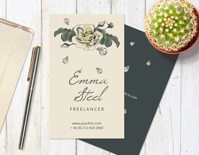 Roses : Free Business Card Template for Florist