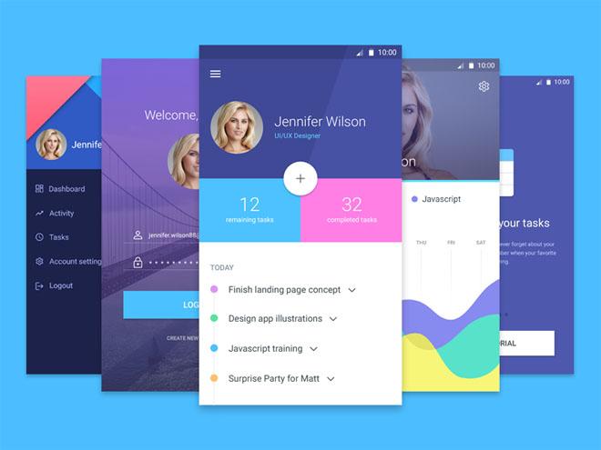 free Material Design App UI Kit