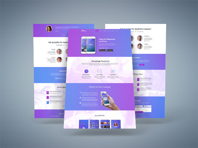 Olivia: Free Mobile App PSD Landing Page