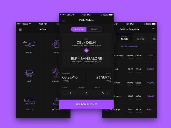 Let's Go : Free Travel App UI Kit PSD