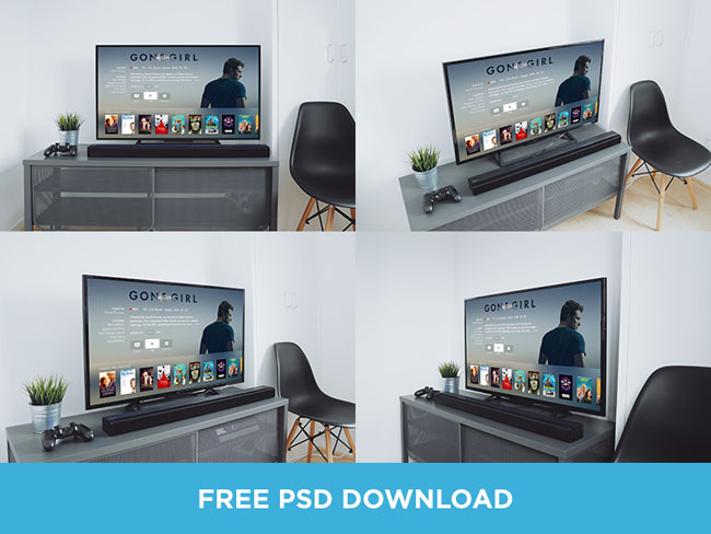 Free Realistic TV Mockups PSD