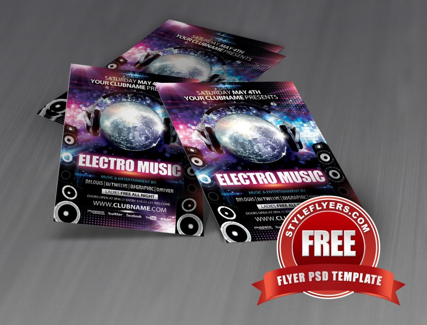Free PSD Electro music Flyer Template