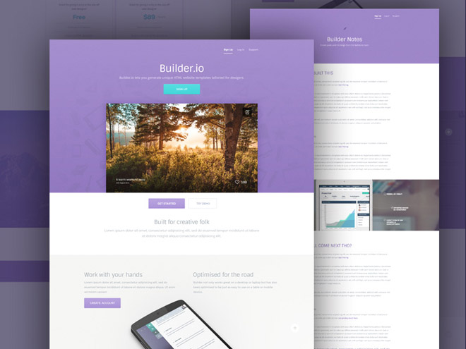 Builder – Free Mobile App Landing Page PSD template