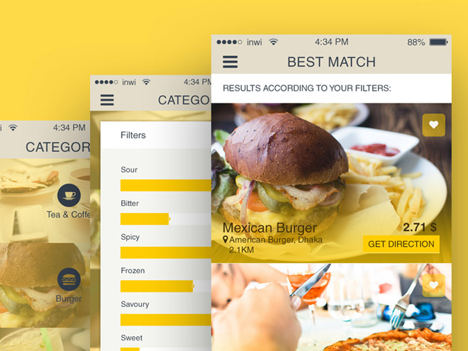 Free Restaurant Finder App UI for iOS (PSD)