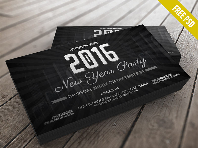 Free 2016 New Years Party Invitation Card Template