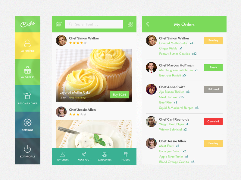 Chefie : Free Foods App UI PSD