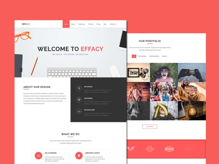 Effacy : Free Bootstrap Single Page Business Template