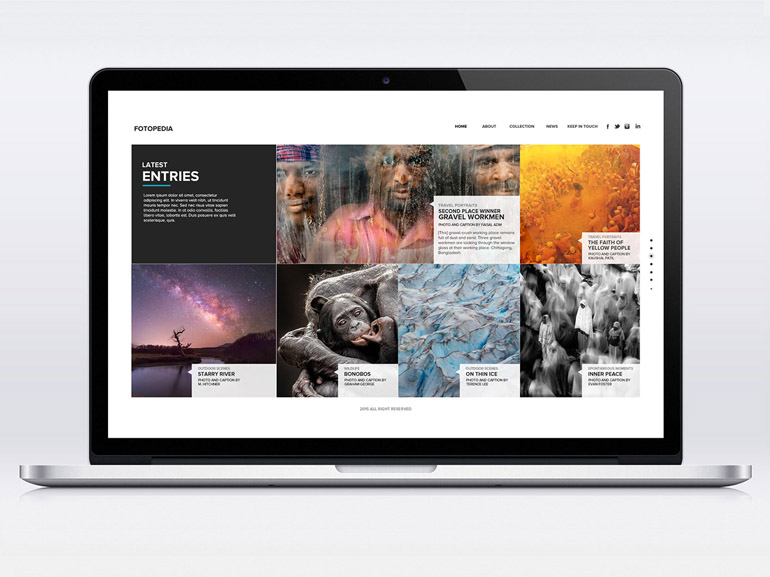 Fotopedia : Free One Page Photography PSD Template