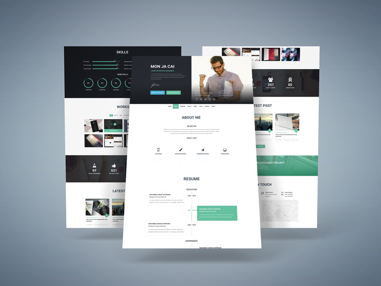 I-AM-X : Free Web Resume PSD Template