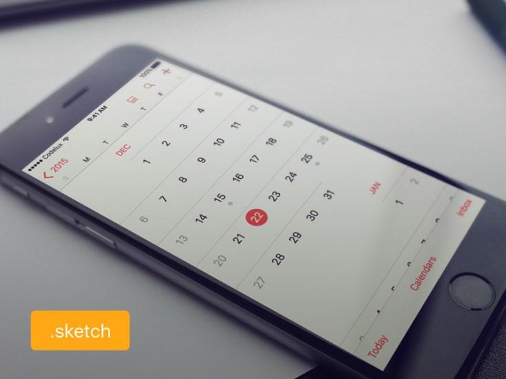 iOS Calendar UI Design (Sketch)