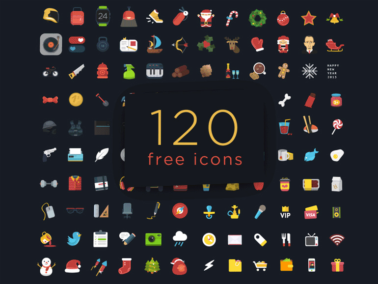 120 Free Colorful Flat Icons