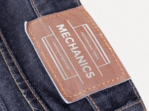 Free Leather Patch Mockup for Clothing Designer