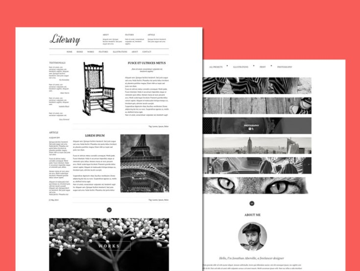 Literary – one page PSD template for Writer