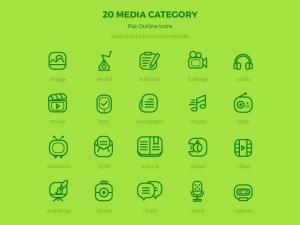 20 Free Flat Media Icons