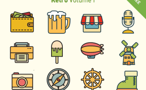 Free Vector Retro Icon Set
