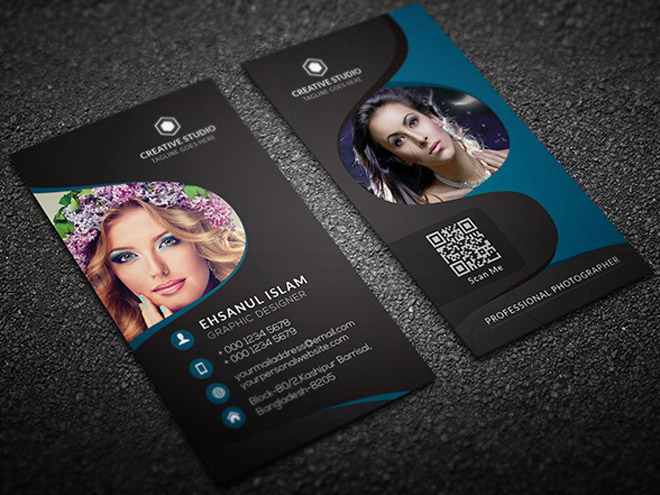 Free Vertical Photography Business Card Template
