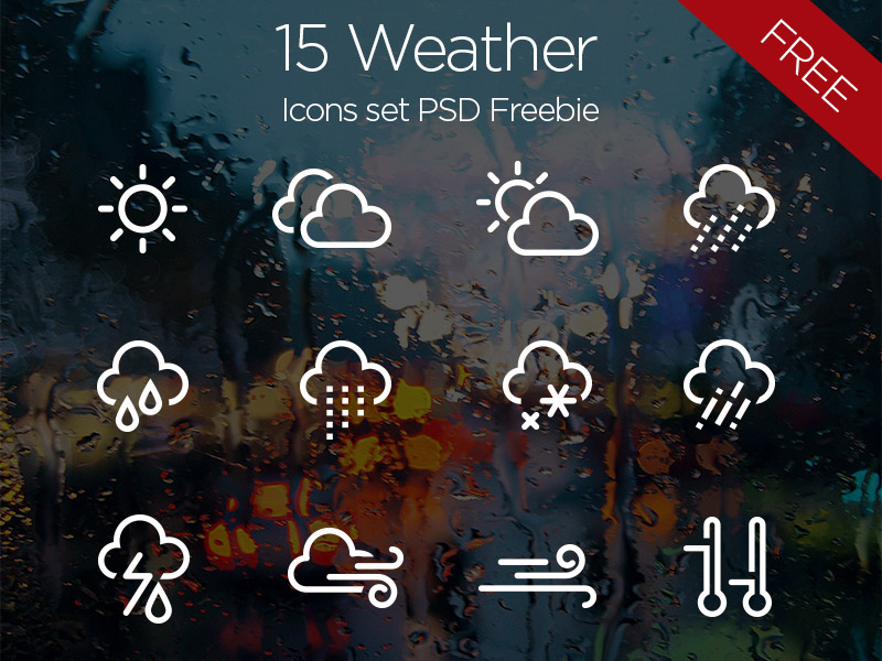 15 Free Weather Icons PSD