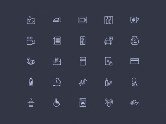 Amenities : 50 Free misc PSD icons