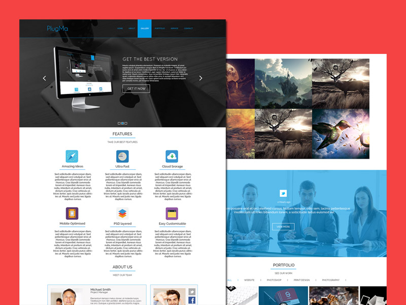 Plugma – Free Responsive One Page PSD Template