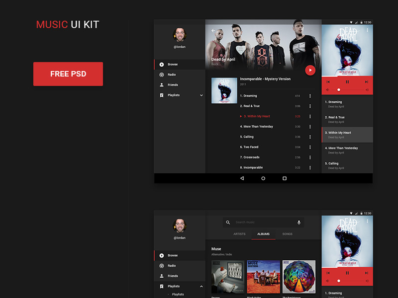 Android Music UI Kit PSD