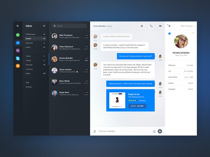Free Chat Dashboard UI PSD