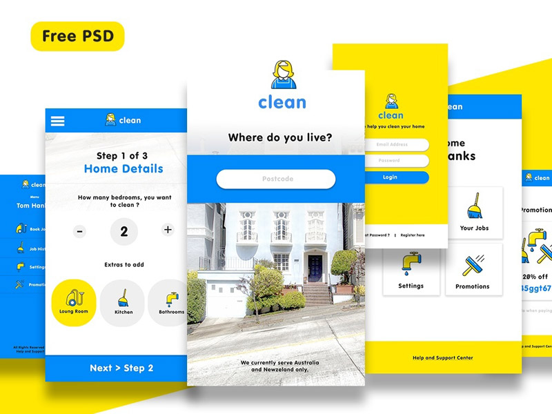 Cleaning Service App UI Kit PSD