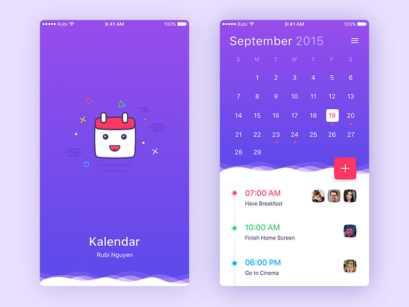 Colorful Calendar UI Design