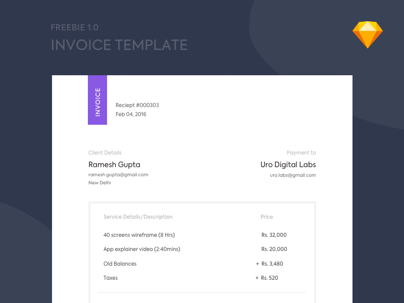 Free Invoice Sketch Template