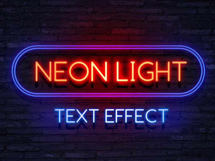 Free Neon Text Effect PSD