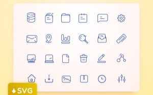 Free Line User Interface Icon set