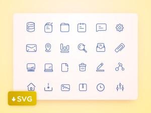 Free Line User Interface Icon set