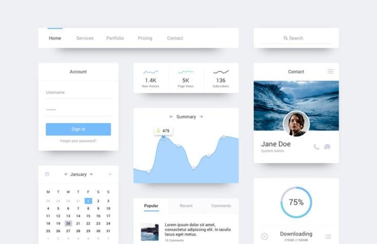Ocean - Free Flat UI Kit PSD
