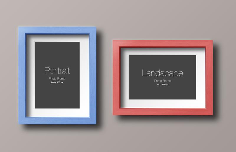 Portrait and Landscape Wood Frame Mockup