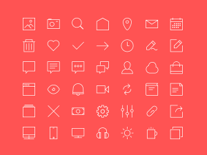 Small Line Icon Set PSD