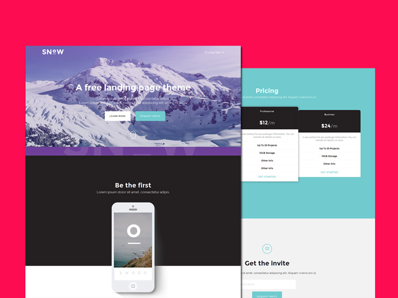 Snow : Free Bootstrap Landing Page Template