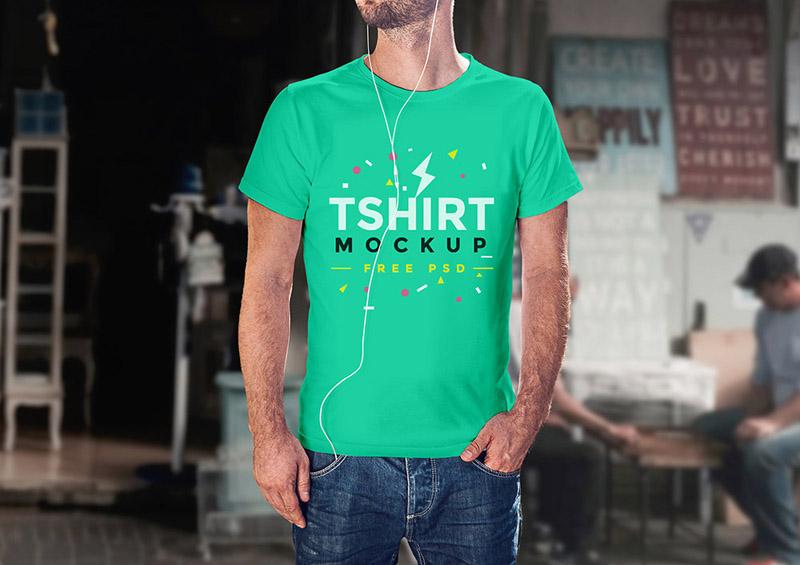 Realistic T-shirt Mockup PSD Template