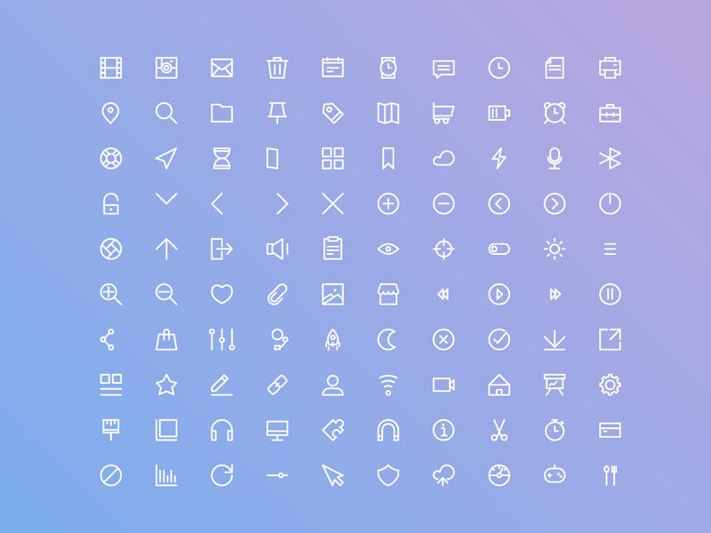 100 Free Basic UI Icon