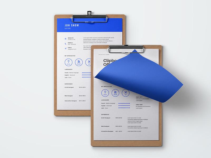 Blue Resume Template PSD
