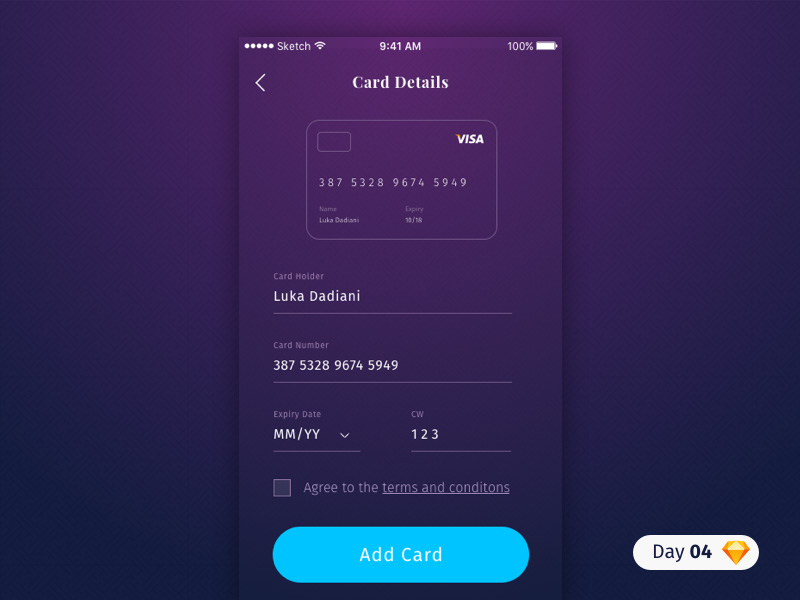 Credit Card Details for Payment UI