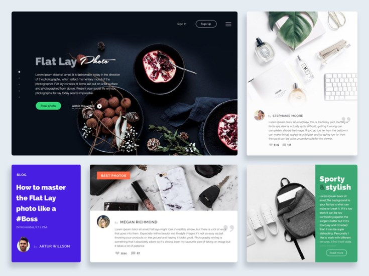 Flat Lay UI Kit PSD