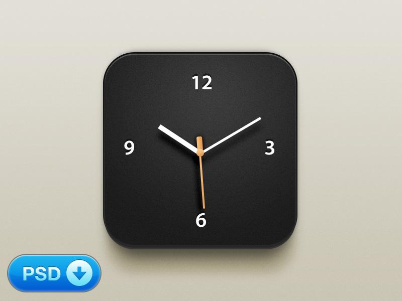 Free Clock iOS Icon PSD