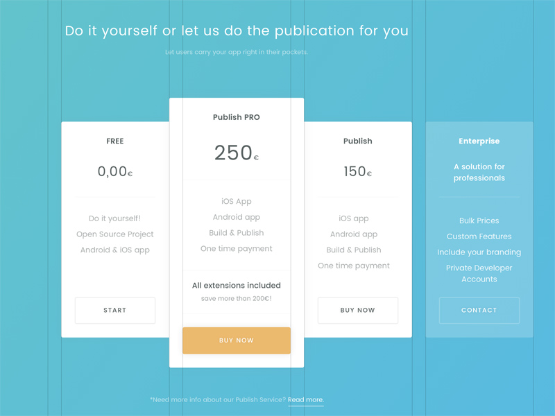 Free Sketch Pricing Table Template